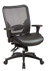 SPACE Seating Breathable Mesh Back and Layered Leather Seat, Dual-Function Control, 4-Way Adjustable Arms, Seat Slider and Gunmetal Finish Base Managers Chair