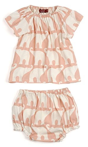 Milkbarn Cotton Dress and Bloomer Set (3-6 months, Rose Elephant) ()