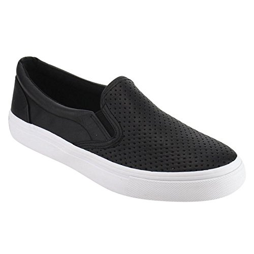 (SODA Alpaca Women's Perforated Slip On Elastic Panel Athletic Fashion Sneaker, Color:Black PU,)