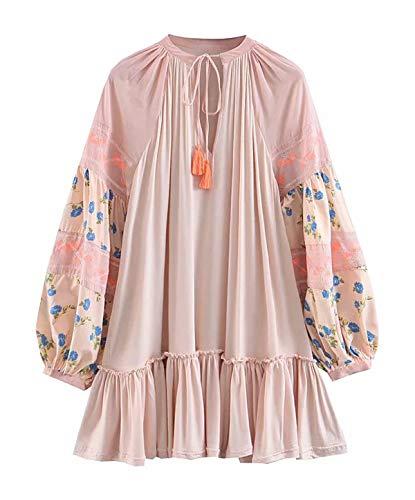 R.Vivimos Women's Autumn Cotton Long Sleeve Ruffles Embroidery Mini Short Dress (Small, Pink)