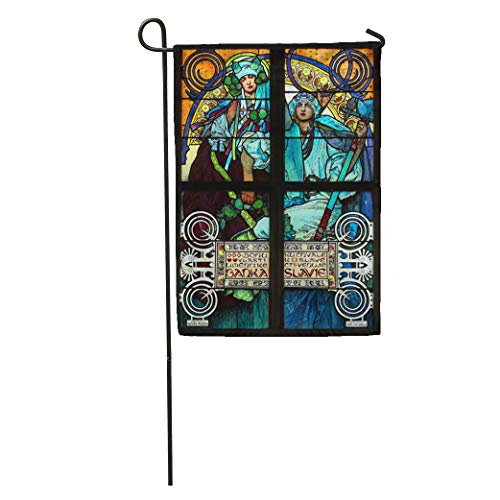 Semtomn Garden Flag Prague Czech Republic March 25 The Nouveau Stained Glass Window Home Yard House Decor Barnner Outdoor Stand 12x18 Inches Flag