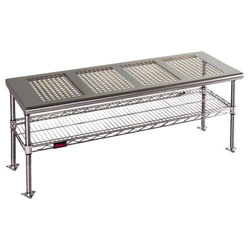 - Eagle Group CRB1836 Gowning Bench with Standard Undershelf, Solid Top, Stainless Steel Finish, 36