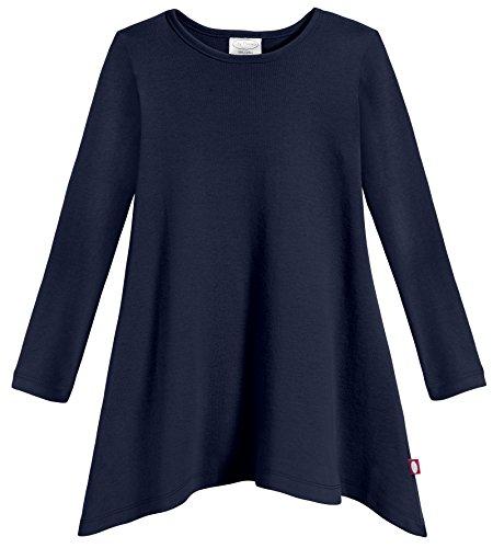 City Threads Girls Shark Bite Long Sleeve Tunic Top Blouse Shirt Stylish Modern all Cotton for Sensitive Skins SPD Sensory Friendly, Navy, 4T