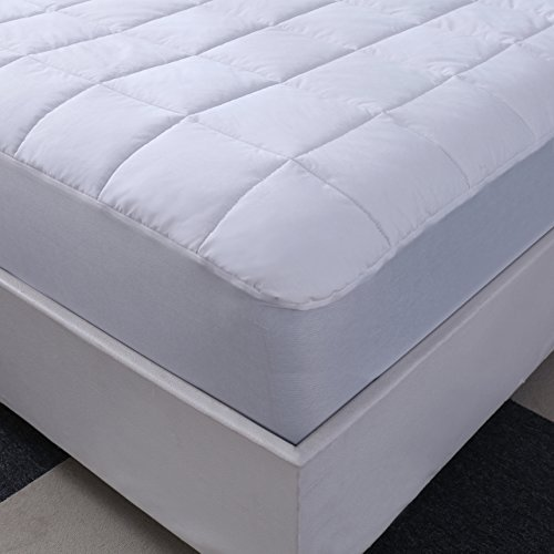 "Allrange 233TC Essential Cotton Top Mattress Pad, Mattress Top, Mattress Protector, 100% Cotton Quilted, 13"" Pocket Stretch Up to 15"", Snug Fit, Hypoallergenic, Machine Washable, Queen (100% Cotton Mattress Pad)"