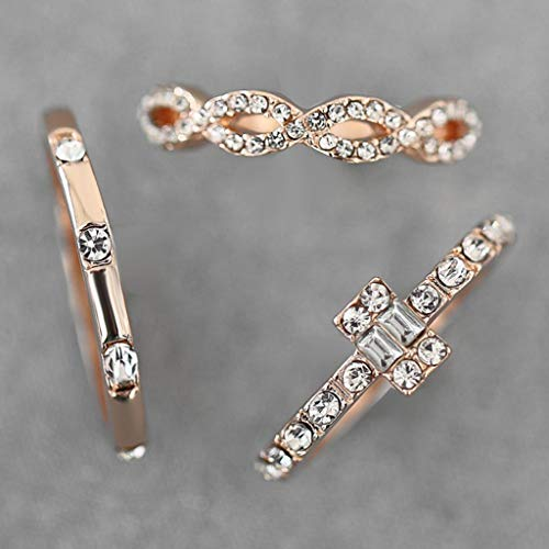 Diamond Studded Ring cubic zirconia rings Geometric Square Zircon Rings 3PC Fashion Trend Jewelry by uaswguDFS (Image #6)