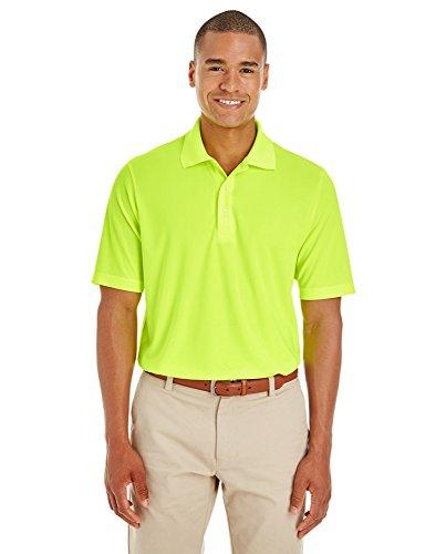 Lg Performance Polo - LogoUp Men's Core 100% Polyester Performance Dri-Tech Polo - Large - Safety Yellow