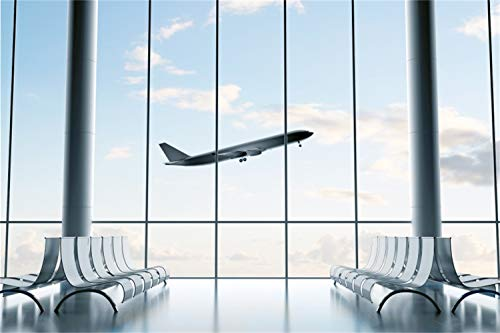 LFEEY 9x6ft Airport Backdrop Chairs Windows Airplane Cloud Weather Waiting Room Vinyl Computer Printed Background Baby Adults Portraits TV Film Production Video Display Photo Studio Prop