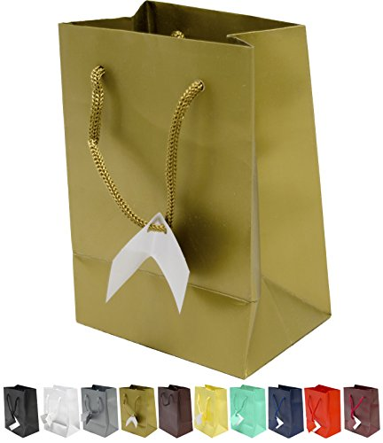 Novel Box Gold Matte Laminated Euro Tote Paper Gift Bag Bundle 4.75