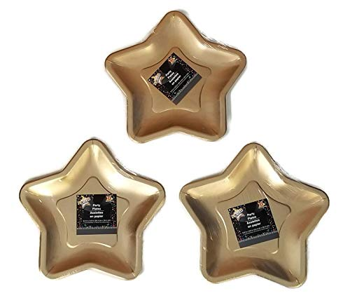 Gold Star Shaped 9.6 Inch Foil Paper Party Plates (24) 3 packages of ()