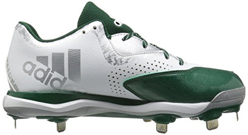 adidas Herren PowerAlley 4 Baseballschuh Weiß / Dunkelgrün / Silber Metallic