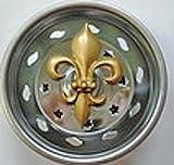 Billy-Joe Kitchen Strainer-new stainless steel basket fits standard sinks--Enamel Gold Fleur de Lis