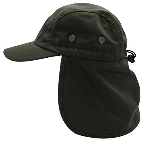 Premium Fishing Cap By Top Level - Unisex Wide Brim Adjustable Polyester Fabric Hat - With Ear & Neck Side Protection Flap - Perfect For Fishing, Hunting, Camping, Hiking, (Top Hat Fabric)