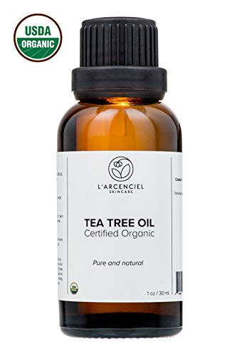 Organic Tea Tree Oil (1 oz.) by L'arcenciel Skincare. 100% Pure and USDA Certified Organic Tea Tree Essential Oil. Natural treatment for acne, lice, nail fungus.