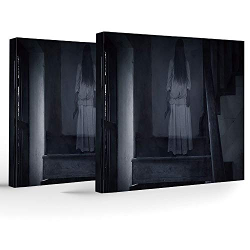 (Artwork Wall Art Canvas Prints Picture,Halloween,2 Panels Stretched Canvas Framed Wall Art,Horror Scenery Ghost Girl Figure on Stairway Holding Axe Murder Violent Nightmare)