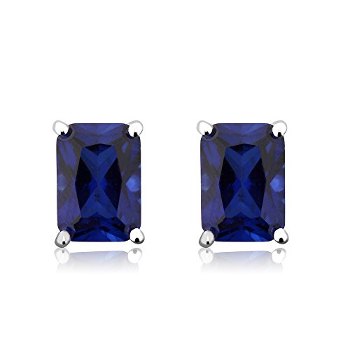 Emerald Cut Blue Sapphire (Sterling Silver Created Blue Sapphire Stud Earrings 7X5MM Emerald Cut 2.00)