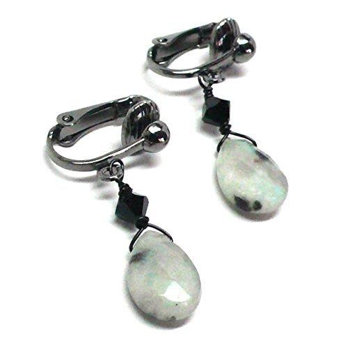 Sesame Jasper Briolette Clip-On Non-Pierced Earrings Swarovski Crystal ()