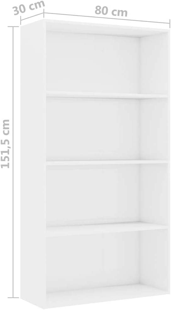 Estanter/ía Madera Estanter/ía de Libros Estanter/ía Vers/átil Estanterias Librerias Extaum Estanter/ía de 4 Niveles de Aglomerado Color Blanco 80 x 30 x 151,5 cm