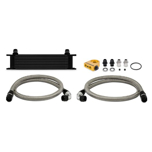 Mishimoto MMOC-UTBK Black Universal 10-Row Thermostatic Oil Cooler Kit (Oil Cooler Kit Racing)