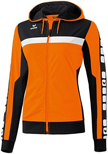 Mujeres Erima chaqueta de entrenamiento de 5 CUBOS con capucha 5-CUBOS Serie naranja / negro / blanco, Opciones Tamaño: 40 Mujeres