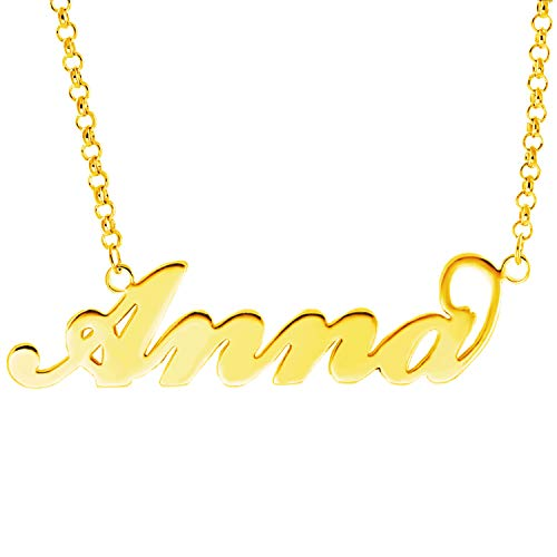 - YINSHIFU 18K Gold Plated Name Necklace Personaliaed Name Plate Necklace Gift for Women (Anna)