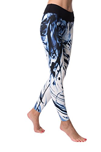 "Guely Ray Women Performance Compression Leggings Yoga Pants Mid Waist with Hidden Pocket (M US 8-10 Waist 29.5-30.5"" Hip 39-40"") Blue Ink"