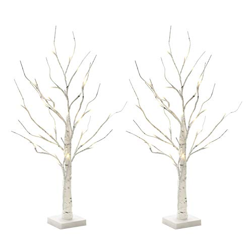 EAMBRITE Set of 2 2FT 24LT Warm White LED Birch Tree Light Tabletop Bonsai Tree Light Jewelry Holder Decor for Home Party Wedding ()