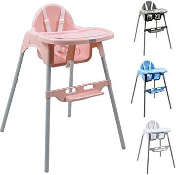 Monsieur Bébé ® Chaise haute enfant, réglable hauteur et tablette 4 coloris Norme NF EN14988