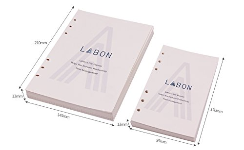LABON'S A6 Loose Leaf Paper for Ring Binder 6 Hole 120 Sheets 2018 2019 2020 Calendar /Monthly Weekly Daily Schedule /Telephone & Address /Ruled Dotted Grid Free Note Premium Thick Refillable Planner