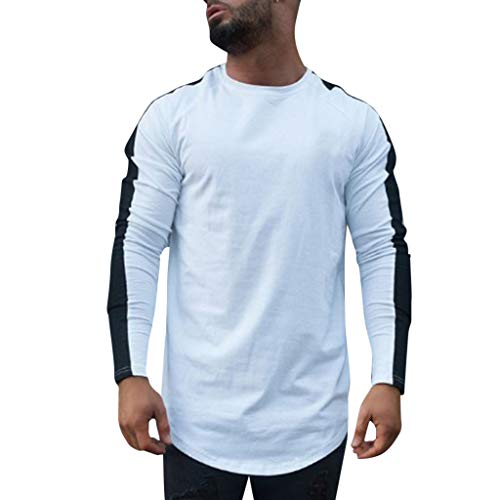 (Inforin Men's Summer Autumn Long Sleeve Slim Fit Patchwork Round Collar Top Blouse White)