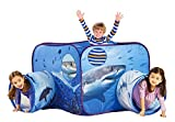 PLAY 10 Kids Play Tunnel Tent with Pop Up Design 2 Connected Tunnels Crawling and Fun Seaworld Inspired Shark Tent