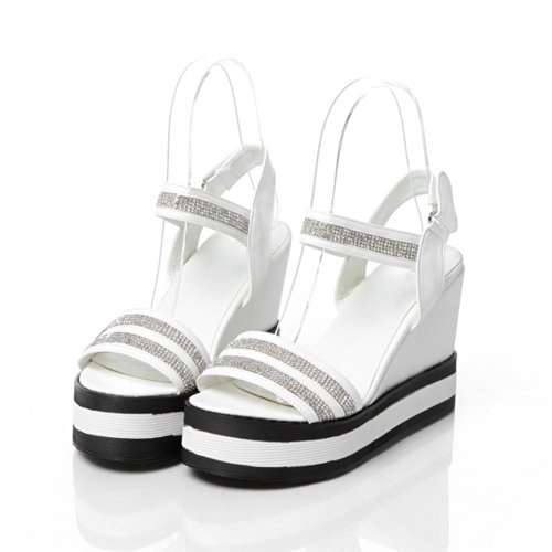VogueZone009 Womens Open Toe High Heel Platform Wedges PU Soft Material Solid Sandals with Glass Diamond, White, 5 UK
