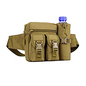 X-Freedom Unisex Tactical Waist Pack Pouch With Water Bottle Pocket Holder Fanny Hip Belt Outdoor Travel Bag, Dark Brown
