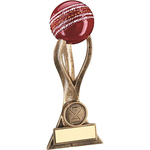 Lapal Dimension BRZ/GOLD CRICKET BALL ON 3 PRONGED RISER TROPHY - (1in CENTRE) 7.25in by Lapal Dimension