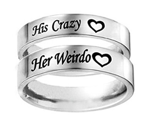 Heyuni. 1pc His Crazy/Her Weirdo Heart Engraved Ring Titanium Steel Silver Engagement Wedding Band for Women Men Couple Anniversary Gifts ,Her Weirdo,10