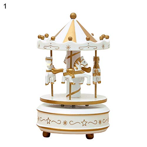 (Figurines & Miniatures - 1pc Wood Merry Go Round Music Box Christmas Birthday Gift Carousel Kids Toys - Figurines Metal Silver People Miniatures Figurines Miniatures Metal Music Girl Ballerina Be)