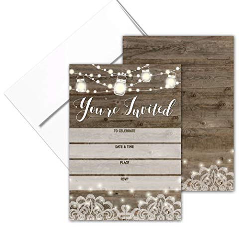 You're Invited - Rustic Fill-in Party Invitations with