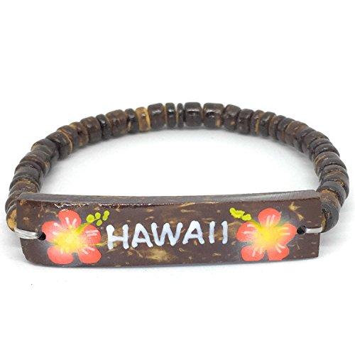 Stretch Bracelet Coconut Shell (Hawaiian Jewelry Coconut Hawaii Elastic Bracelet - Orange Coral Flowers)