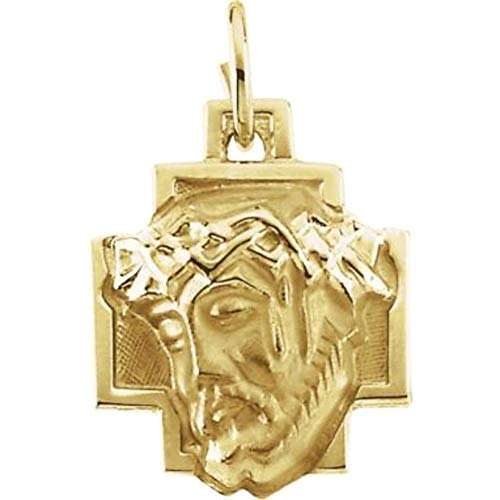 Bonyak Jewelry 14k Yellow Gold 12x12mm Face of Jesus Pendant