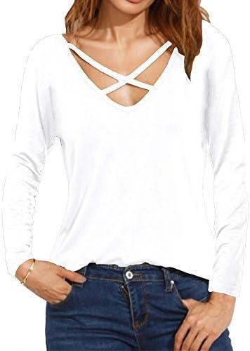 Haola Verano de la mujer Cruz Front Tops Tees de Deep V cuello Casual Teen Girls T Camisas