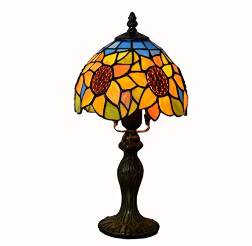 GDLight Tiffany Style Sunflower Table Lamp American Pastoral Stained Glass Bedside Lamp for Living Room Bedroom Study Room 8 Inches (Sunflower Tiffany Lamp)
