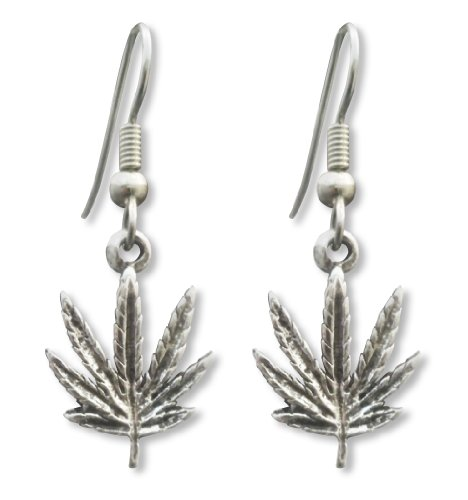 Marijuana Weed Pot Leaf Dangle Earrings Antique Silver Finish Pewter ()