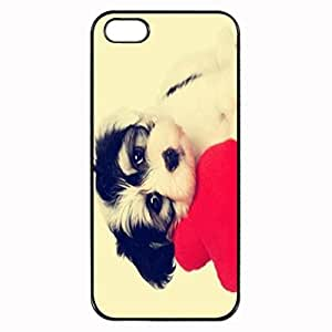 Cute Puppy Dog Stylish Photo Printed Plastic Rubber Sillicone Customized iPhone 5 Case, iPhone 5S Case Cover, Protection Quique Cover, Perfect fit, Show your own personalized phone Case for iphone 5 & iphone 5S by icecream design