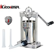 KITCHENER- Heavy Duty Stainless Steel Vertical Sausage Stuffer/Filler/Maker with 3 Stuffing Tubes (Heavy Duty: 5-Lbs)