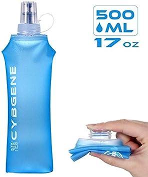 YANSHON Botellas de Agua Blanda Trail Botella Flexible 500ml, Botella Plegable TPU, Botella Suave Plegable Botella de Agua sin BPA, Botella de Frasco Suave Jaula para Trekking Trail Running