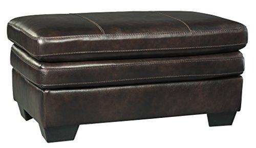 Cafe Ottoman - Ashley Furniture Signature Design - Hannalore Contemporary Leather Upholstered Ottoman - Café