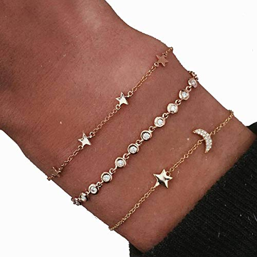 (Hand Jewelry European and American Fashion Summer Cool Star Moon Diamond Bracelet 3 Piece Set)