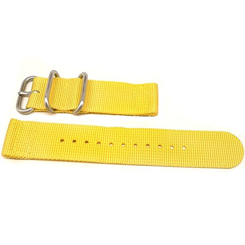 DaLuca Two Piece Ballistic Nylon NATO Watch Strap - Yellow : 24mm