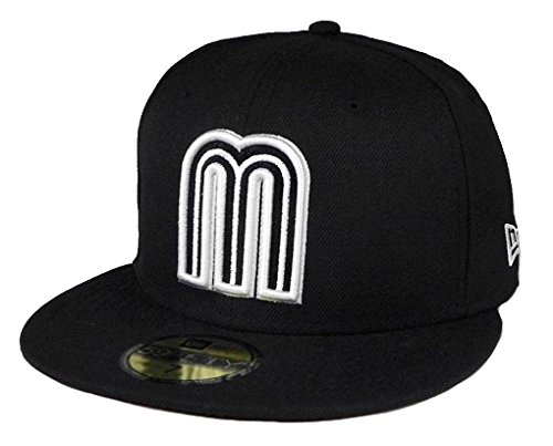 (New Era 59fifty World Baseball Classic Mexico fitted hat cap Black/White Men size (7 3/4))