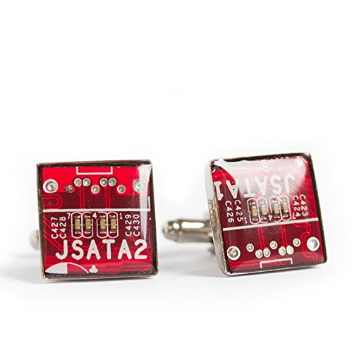 Red Circuit Board Cufflinks, recycled gift for computer geek