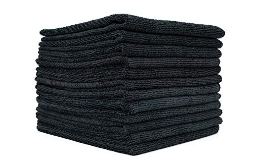 (12-Pack) 14 in. x 14 in. Commercial Grade All-Purpose Microfiber HIGHLY ABSORBENT, LINT-FREE, STREAK-FREE Cleaning Towels - THE RAG COMPANY (Black) (The Best Cleaning Company)
